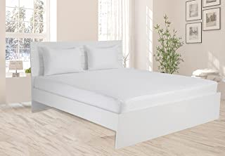 Hotel Linen King Fitted Sheet 1pc, 100% Cotton 250Tc Sateen 1cm Stripe, Size: 200x200+30cm, White