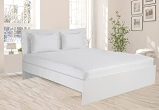 Hotel Linen Collection 300TC Cotton Sateen White Single Fitted Sheet Size: 100 x 200 + 25 cm