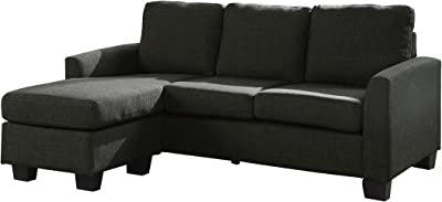 Benjara Fabric Upholstered Sectional Sofa, Gray