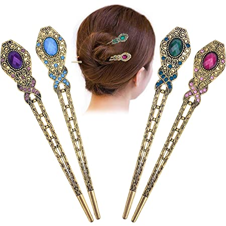 Wooden Ball Hair Stick Pick With Star Metal Button End