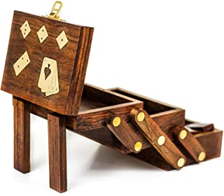 Wood Crafted Multi Game Box | Cards | Domino | Dice | Wooden Case | Old School Gift Games | Nagina International