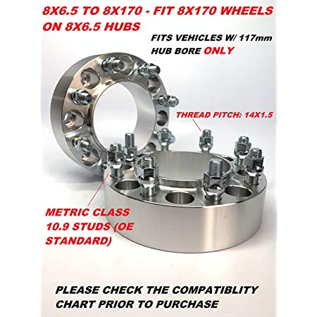 SPACERS Supreme Engineering Technologies 2PC 8X6.5 to 8X170 Wheel ADAPTERS Works with Ford 8X170 Wheels to USE ON Chevy 8X6.5 Trucks 1.5 INCH Thick