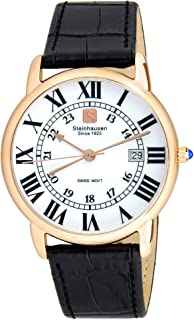 37869767b20 Steinhausen Men s S0722 Classic Delémont Swiss Quartz Stainless Steel Watch  With Black Leather Band