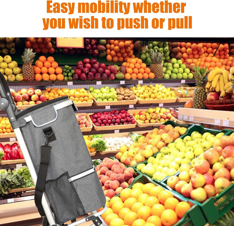 Liqing Einkaufstrolley klappbar Multifunktional Einkaufswagen mit Verstellbarem Griff Blau Gro/ße Kapazit/ät 44L mit K/ühlfach