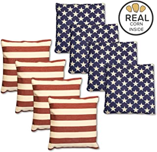 Corn Filled Cornhole Bags - Set of 8 Duck Cloth Bean Bags for Corn Hole Game - Regulation Size & Weight