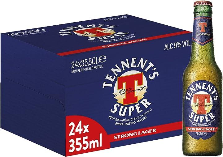 Birra tennent`s super , bottiglia - pacco da 24 x 355 ml B086R9VVD5