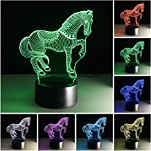 3D Illusion Lamp, Horse Night Light 7 Colors Light Desk Table Lamp,3D Optical Illusion Night Light with Acrylic Flat & ABS Base & USB Charger