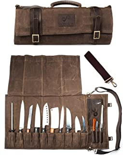 Chef Knife Roll Bag Holds 10 Knives PLUS Slots for Culinary Tools (Bag Only) –..