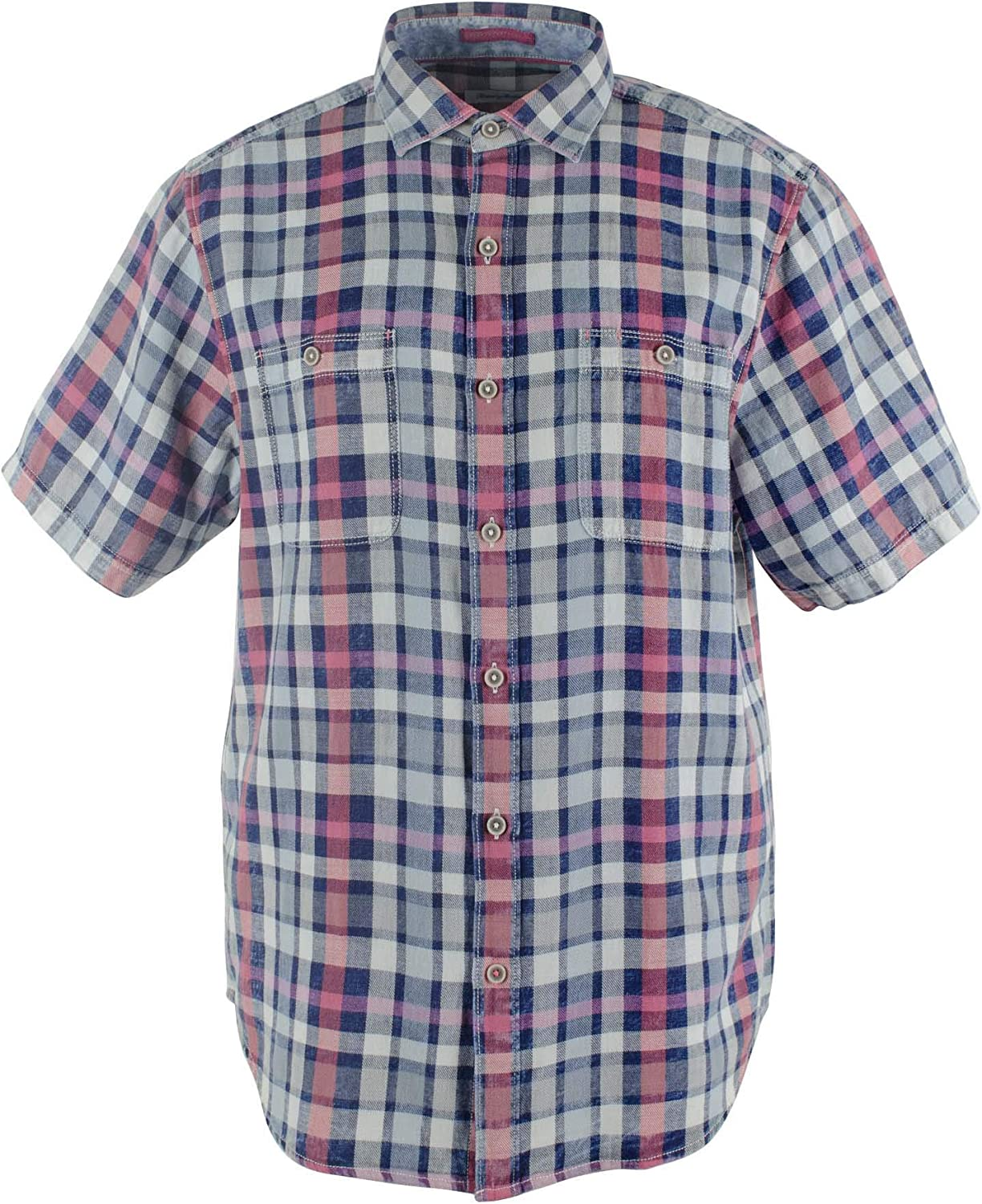 Tommy Bahama Men's Sand 67% OFF of Popular products fixed price Swept Plaid Cotton Camp Short Shirt Slee