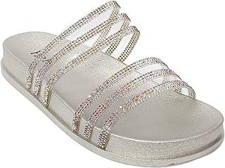 24d6d0512f68 H2K Women s Glitter Crystal Rhinestone Slip On Flatform Open Toe Buckle  Strap Slide Sandals