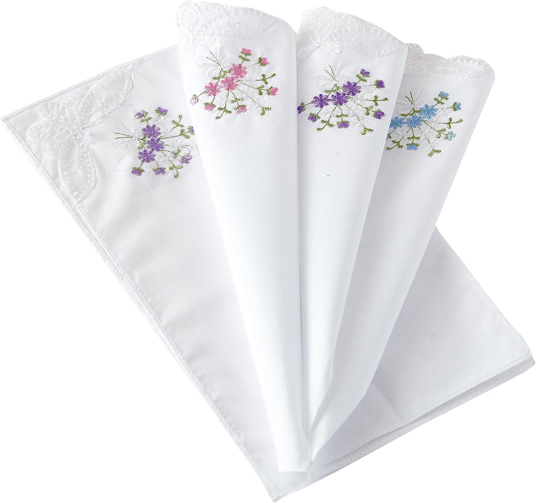 RDS HANKYTEX Cotton Embroidery Ladies' Handkerchiefs Lace Set of 6 (set005)