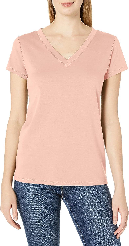 Lark & Ro Women's Pima Cotton T-Shirt: Crew Neck & V-Neck