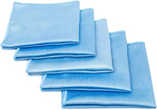 The Rag Company (5-Pack) 16 in. x 16 in. Blue Diamond Professional Microfiber Glass - Window - Mirror - Chrome Towels for Detailing