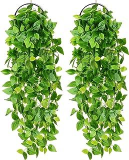 YQing 2 Piezas Artificial Hiedra Planta Colgante, Artificiales Verde Hojas de Hiedra Falsas para Pared Hogar Porche Jardín...