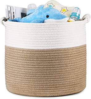 Magicfly Cotton Rope Toy Baskets, 15 X 15 X 14 Inch Large Baby Nursery Organizer for Laundry, Toys and Baby Storage Blankets in Baby Nursery or Kids Room, Beige & White