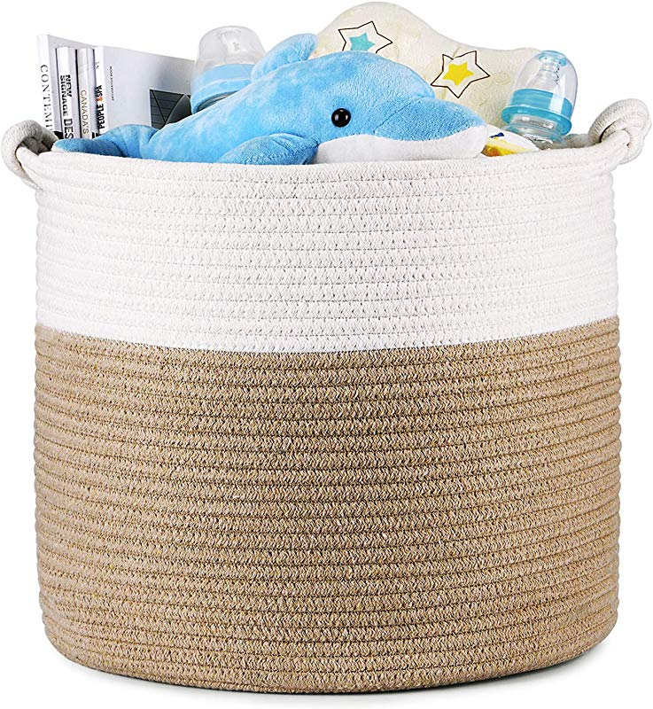 Magicfly Cotton Rope Baskets 15 X 15 X 14 Inch Large Baby Nursery Basket For Laundry Toys Woven Blankets Basket In Baby Nursery Or Kids Room Beige White
