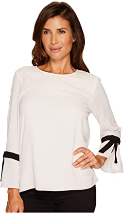 CeCe - 3/4 Tie Bell Sleeve Textured Blouse