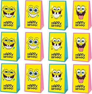 24 Packs SpongeBob Party Gift Bags, SpongeBob Party Supplies Decorations – Double Sided Printed Ideal for Kids Birthday Pa...