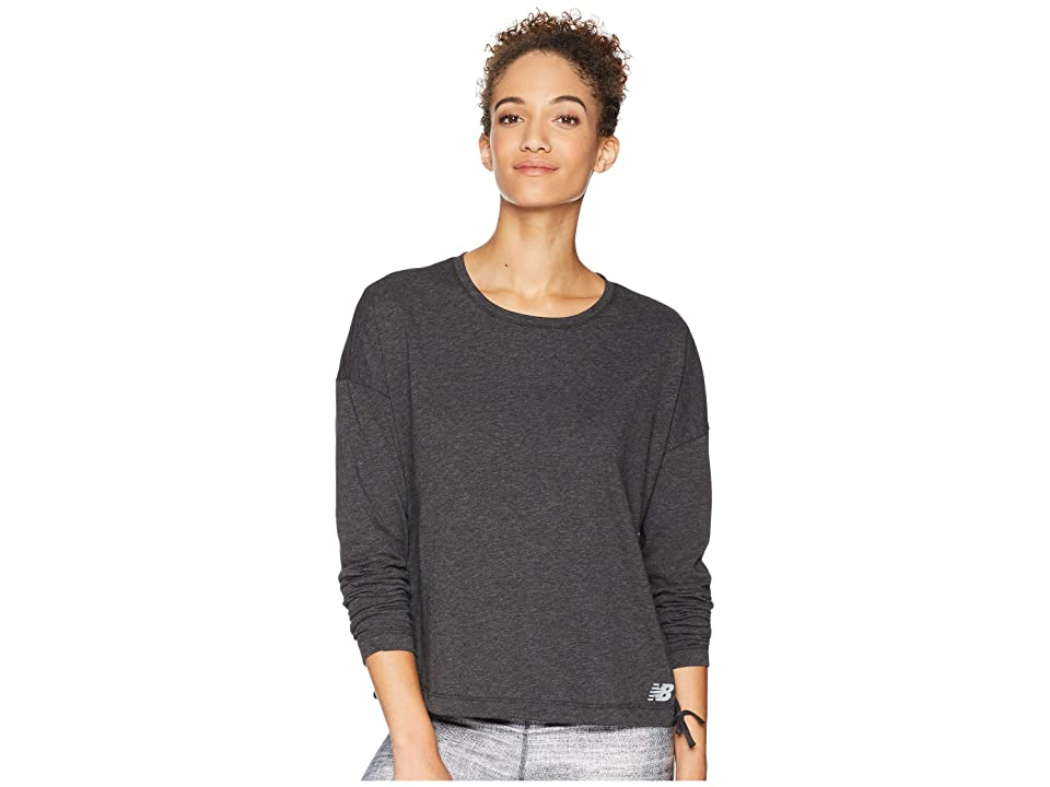 New Balance Heather Tech Long Sleeve Top (Black Heather/Black) Women