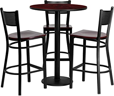 Flash Furniture 30'' Round Mahogany Laminate Table Set with 3 Grid Back Metal Barstools - Mahogany Wood Seat