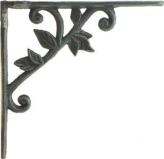 "Import Wholesales Wall Shelf Bracket Vine & Leaf Pattern Decorative Verdigris Cast Iron Brace 8.375"" Deep"