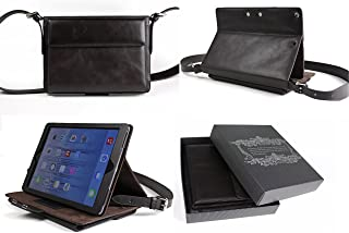 Bear Motion Genuine Brazilian Buffalo Leather Shoulder Bag Case with Stand for iPad Air and New iPad 2017 Model, Brown