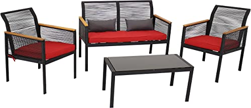 high quality Sunnydaze Coachford 4-Piece Outdoor Patio Conversation lowest Furniture Set online sale - Black Resin Rattan Loveseat, Chairs and Coffee Table with Thick Cushions - Outside Wicker Seating - Red Cushions online