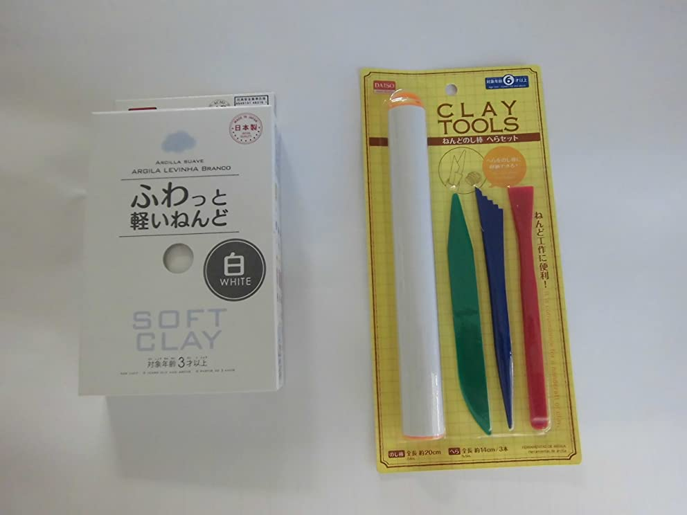 ZUKOU Japan Soft Clay (White) and Clay Plastic Sculpture Tool with 4 Pieces