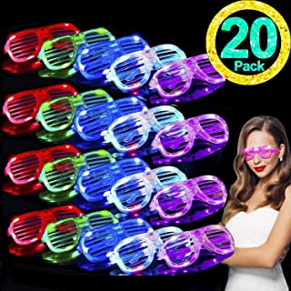 TURNMEON 20 Pack LED Glasses Light Up Glasses Toy Glow In The Dark Party Supplies,Glow Sticks Glasses Party Pack Favors for Kids/Adults,Neon Party Glasses for Carnival Birthday Music Disco Festival
