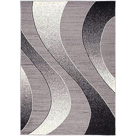Carpeto Rugs Tapis Salon Gris 250 x 300 cm Moderne Vagues/Monaco Collection