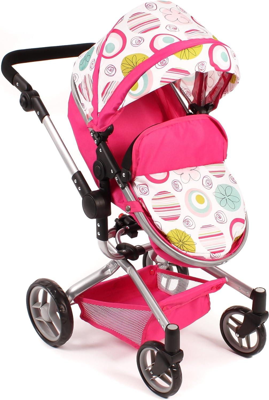 Bayer Chic 2000 593 25 - Kombi-Puppenwagen YOLO, pflaume Weiß-pink
