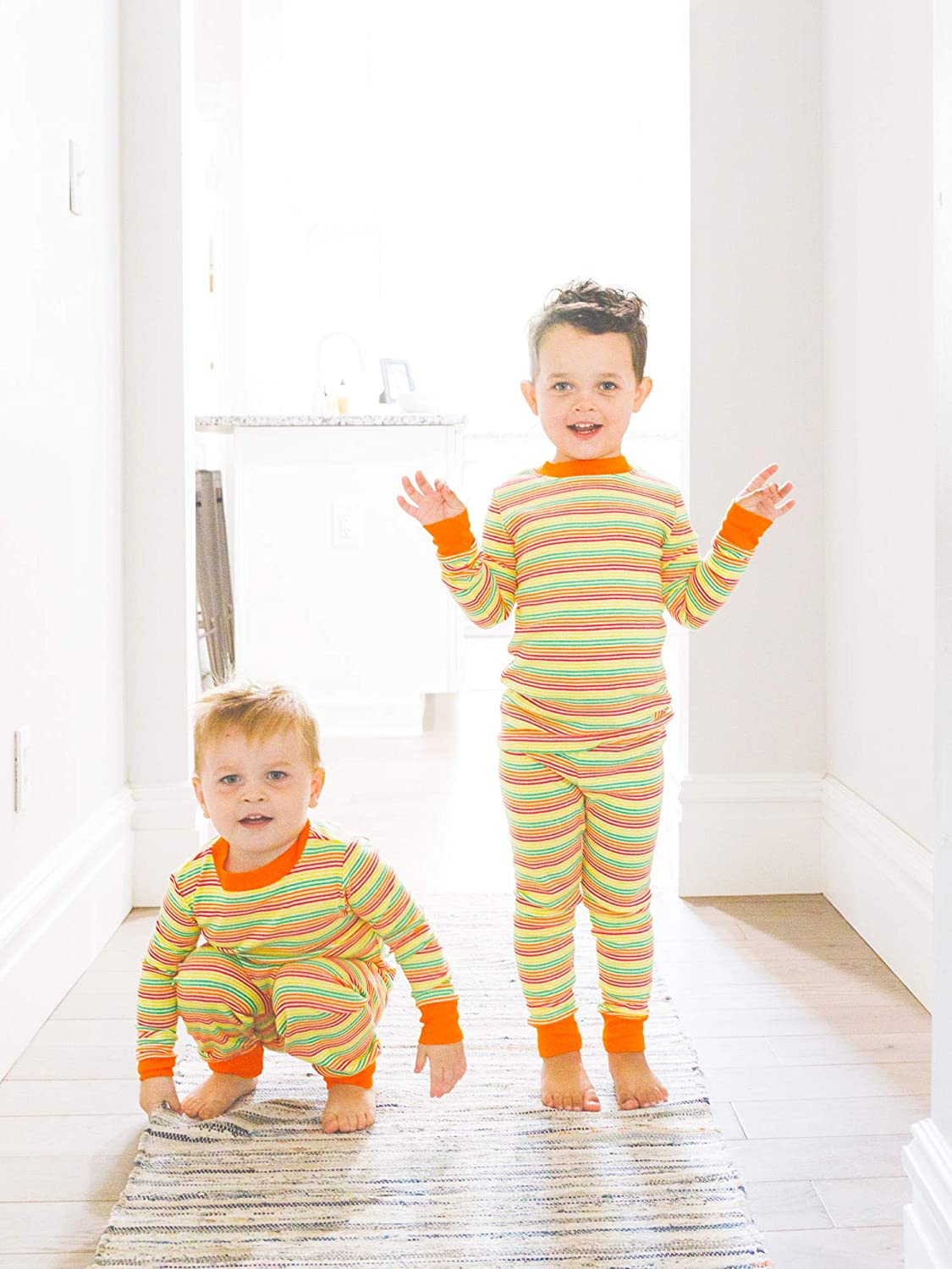 Under The Nile Organic Cotton Toddler Multicolor Stripe Long Johns 2 Years
