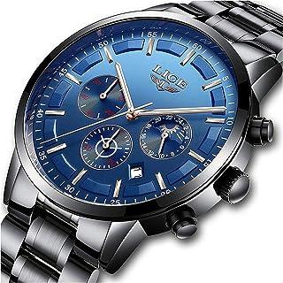 Men Watches Military Black Steel Wristwatch Casual Sport Waterproof Chronograph Analog Quartz Watch Men Fashion Dress Busi...