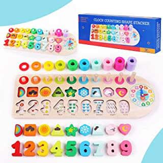 QZMTOY Preschool Educational Learning Montessori Toys for Kids, Toddler Puzzles Number Shape Sorter Counting Stacker with ...