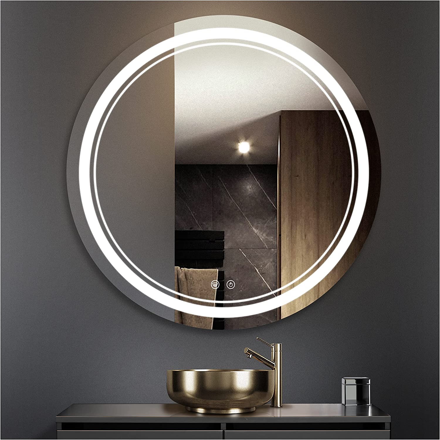 TETOTE Popular shop is the lowest price challenge 36 Inch LED Bathroom Round Al sold out. Anti-Fo Dimmable Vanity Mirror