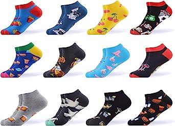 WeciBor Calcetines cortos Hombre Estampados Hombres Ocasionales Calcetines Divertidos Impresos de Algodón de Pintura de Arte Calcetines Verano Tobillo Calcetines de Colores de moda