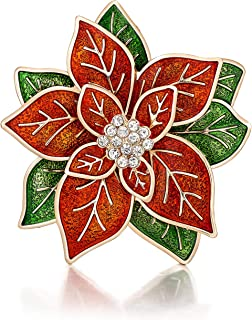 """RareLove Big Size 2.2"""" Pretty Red Green Poinsettia Flower Christmas Pins and Brooches CZ Rhinestone Crystal Brooch Pin Gift for Women Girls Alloy Plated"""
