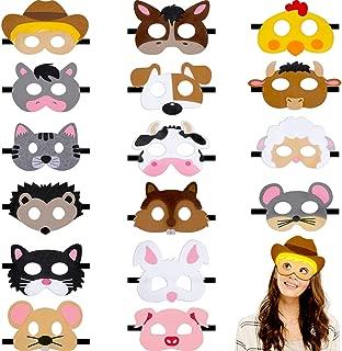 16 Pieces Animal Felt Mask Cartoon Face Masks Farm Animal Party Masks for Halloween Christmas Party Costumes Supplies