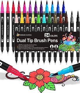 Brush Pen Pennarelli con Doppia Punta 24 Colori Brush Pen Lettering con Punta Fine 0,4 mm e 1-2mm Punta Brush Penne da Col...