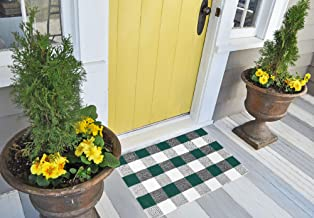 Buffalo Plaid Rug - Green and White Check Door Mat Outdoor - Farmhouse Rugs for Kitchen/Bathroom/Front Porch/Decor - Layered Welcome Doormats - Checkered Flannel Cotton Entry Way Layering Mats 24