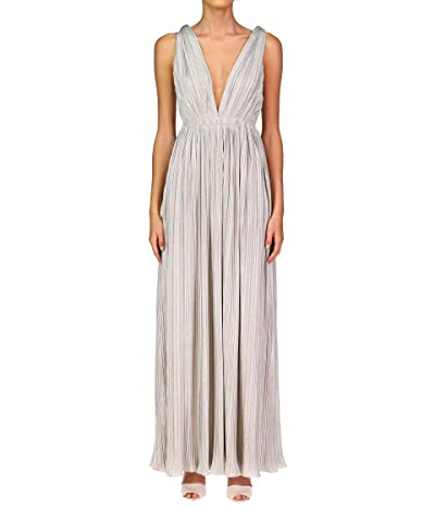 Halston Lana Pleated V-Neck Gown