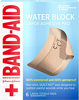 Band-Aid Brand First Aid Products Water Block Non-Stick Sterile Waterproof Pads, Large, 2.9 by 4 inches, 6 ct (Packaging May Vary)