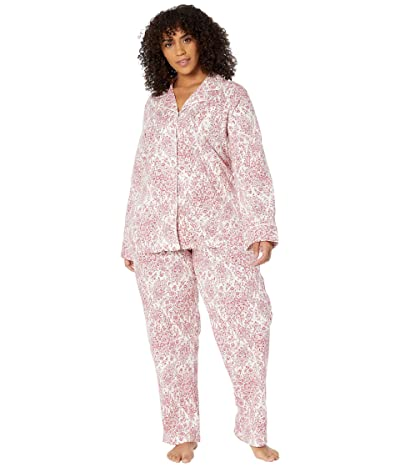 LAUREN Ralph Lauren Plus Size Classic Knits Long Sleeve Notch Collar Long Pajama Set (Red Print) Women