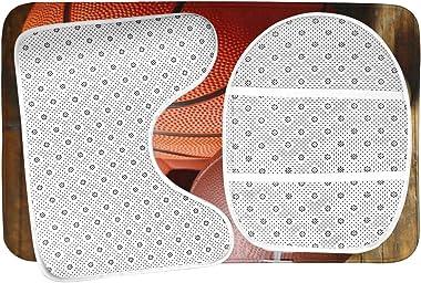 Bathroom Rugs Sets 3pc American Football Baseball Basketball Sports Balls On Wooden Non Slip Bath Mats Rug U Shaped Contour R