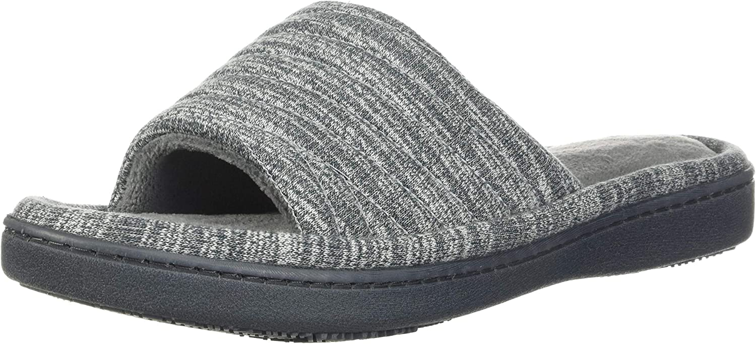 isotoner Women's Andrea Open Toe Slide Slipper with Moisture Wicking for Indoor/Outdoor Comfort and Arch Support