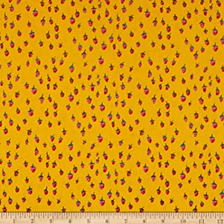 Windham Fabrics Heather Ross Field Strawberries Gold Fabric Fabric by the Yard