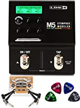 Line 6 M5 Stompbox Modeler Pedal with Built-In Guitar Tuner and True Bypass Bundle with Blucoil 2-Pack of Pedal Patch Cables, and 4-Pack of Celluloid Guitar Picks