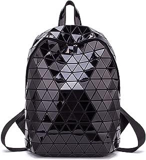 Geometric Holographic Backpack Unisex Women Luminous Backpacks Lumikay Flash Shouder Bag Lingge Fashion Rucksack Iridescent Casual Daypack, Black
