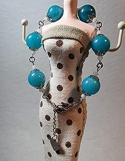 Bracciale in acciaio con perle di giada turchese e bianca