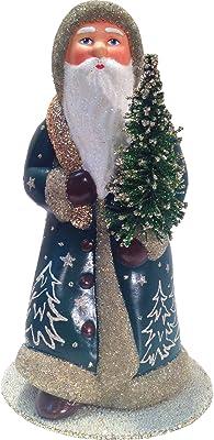 Amazon Com Alexander Taron Importer 14252 Schaller Paper Mache Candy Container Santa Claus In A Green Coat With Glitter Tree Design Home Kitchen